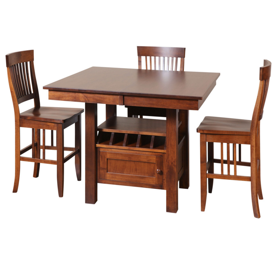 Dining room, dining room furniture, solid wood, solid oak, solid maple, custom, custom furniture, dining table, dining chair, made in Canada, Canadian made, pub table, bar table, storage, storage ideas