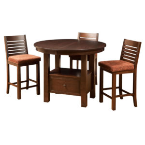 cafe gathering table round, Dining room, dining room furniture, solid wood, solid oak, solid maple, custom, custom furniture, dining table, dining chair, made in Canada, Canadian made, bar table, pub table, storage, storage ideas