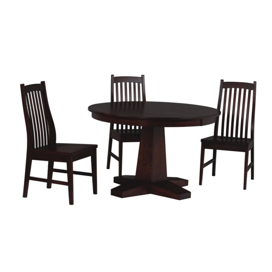 manhattan round table, Dining room, dining room furniture, solid wood, solid oak, solid maple, custom, custom furniture, dining table, dining chair, made in Canada, Canadian made