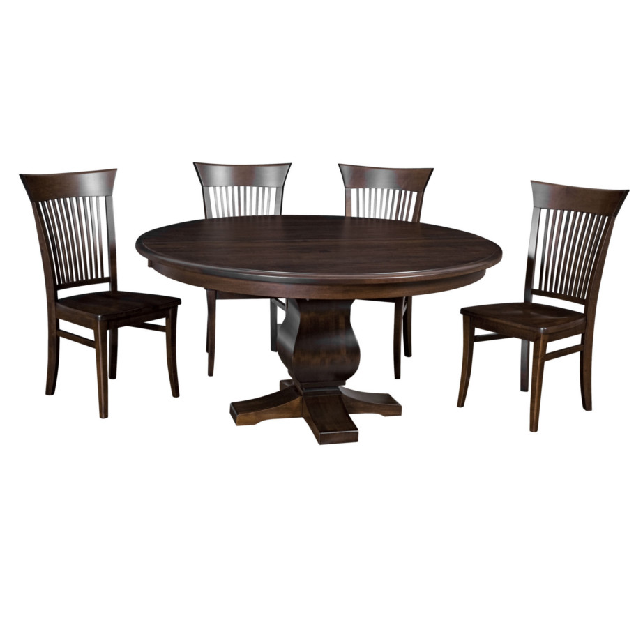 morgan round table, Dining room, dining room furniture, solid wood, solid oak, solid maple, custom, custom furniture, dining table, dining chair, made in Canada, Canadian made