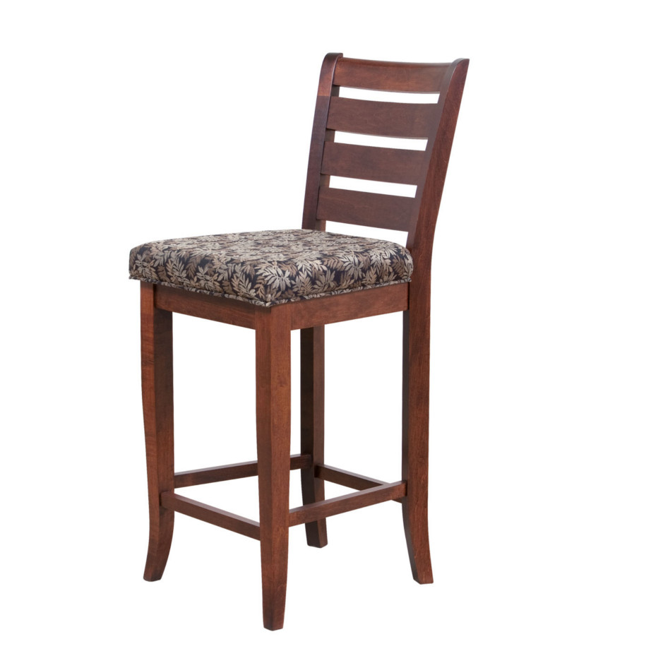 sienna counter stool, Dining room, dining room furniture, solid wood, solid oak, solid maple, custom, custom furniture, dining chair, made in Canada, Canadian made, stool, upholstery