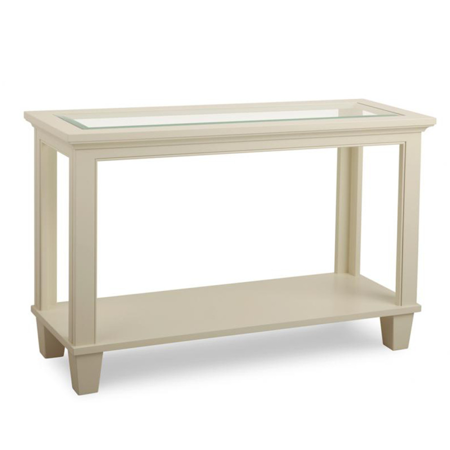 georgetown glass sofa table, living room, living room furniture, rustic maple, heritage maple, solid maple, solid oak, solid wood, made in canada, canadian made, custom furniture, customizable, storage ideas, storage, drawers, occasional, occasional furniture, sofa table, glass, elegant