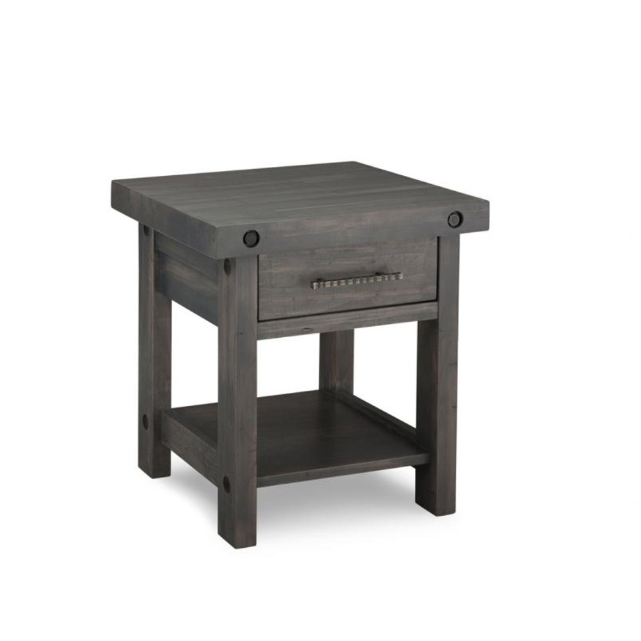 rafters end table, living room, living room furniture, rustic maple, heritage maple, solid maple, solid oak, solid wood, made in canada, canadian made, custom furniture, customizable, storage ideas, storage, drawers, occasional, occasional furniture, end table