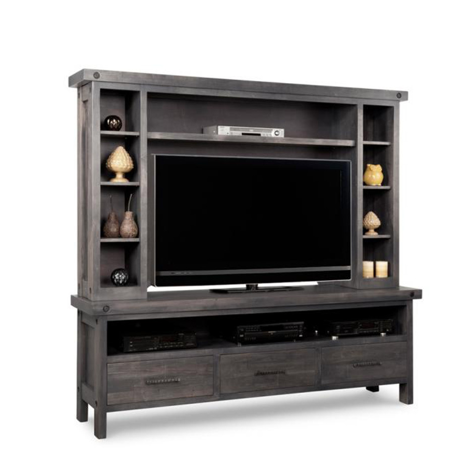 rafters 84 wall unit, living room, living room furniture, console, tv console, wall unit, tv, hdtv, storage, storage ideas, solid wood, made in Canada, Canadian made, maple, oak, cherry, solid maple, heritage maple, solid oak, solid cherry, rustic, rustic design, drawer, drawers, shelves, storage solutions, custom, custom furniture