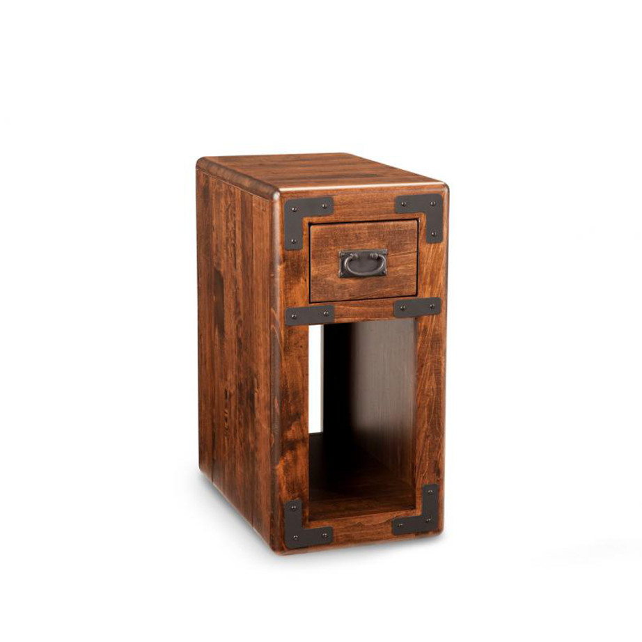 saratoga chairside table, living room, living room furniture, rustic maple, heritage maple, solid maple, solid oak, solid wood, made in canada, canadian made, custom furniture, customizable, storage ideas, storage, drawers, occasional, occasional furniture, end table, chairside table