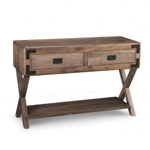saratoga x base sofa table, living room, living room furniture, rustic maple, heritage maple, solid maple, solid oak, solid wood, made in canada, canadian made, custom furniture, customizable, storage ideas, storage, drawers, occasional, occasional furniture, sofa table