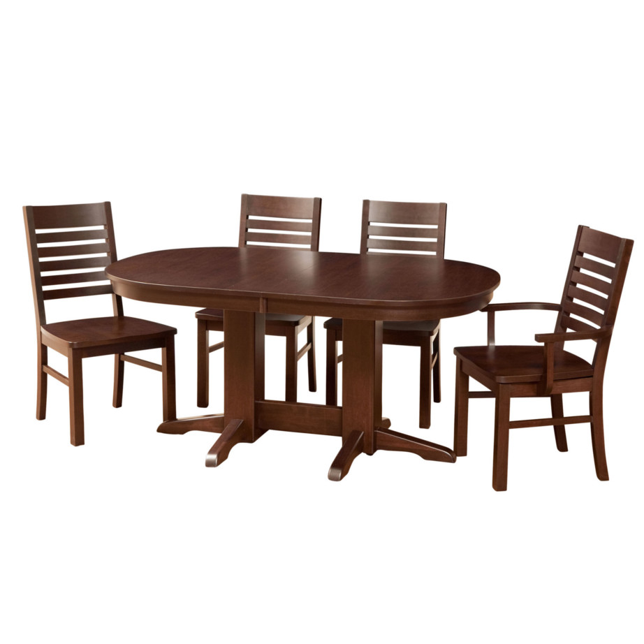 contemporary oval trestle table, Dining room, dining room furniture, solid wood, solid oak, solid maple, custom, custom furniture, dining table, dining chair, made in Canada, Canadian made