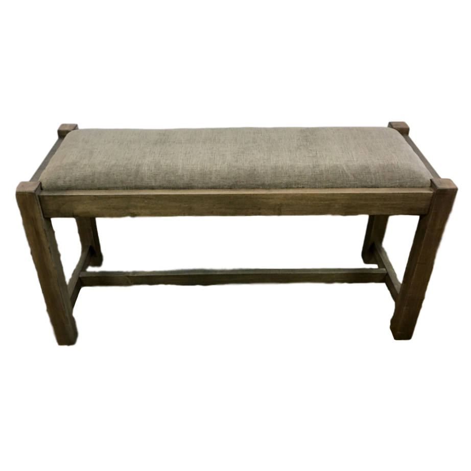 Accents, Entry Benches, entryway, fabric, hallway, made in canada, maple, oak, rustic, seating, solid wood, storage, simple, handy, light, oakridge, wood seat, upholstered, Hall Bench, front view,
