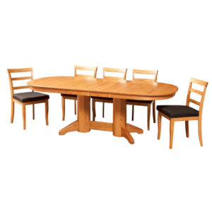 erickson oval trestle table, Dining room, dining room furniture, solid wood, solid oak, solid maple, custom, custom furniture, dining table, dining chair, made in Canada, Canadian made