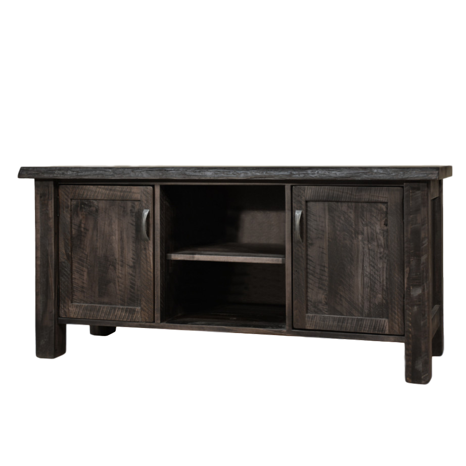 Live Edge TV Console, Entertainment, TV Consoles, contemporary, custom cabinet, distressed, drawers, glass doors, industrial, made in canada, maple, modern, ruff sawn, rustic, solid wood, living room ideas, distressed, simple, customizable, Solid Rustic Maple, craftsman furniture, amish style furniture, contemporary, handmade, rustic, distressed, simple, customizable, Solid Rustic Maple,