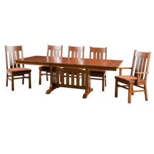 mission 2 trestle table, Dining room, dining room furniture, solid wood, solid oak, solid maple, custom, custom furniture, dining table, dining chair, made in Canada, Canadian made