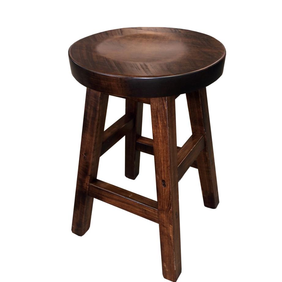 muskoka round stool, muskoka round stool, rustic wood stool, canadian made stool, solid wood stool, bar stool, counter stool