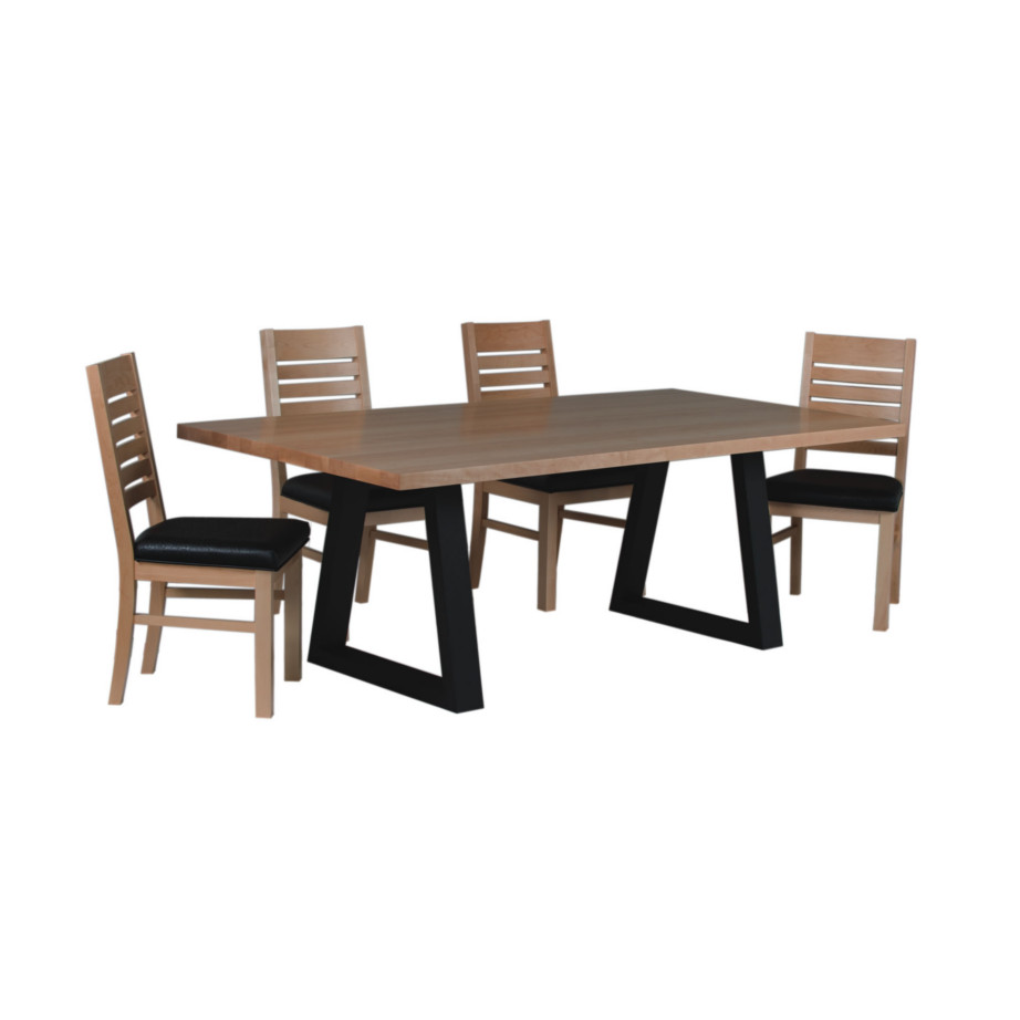 odyssey trestle table, Dining room, dining room furniture, solid wood, solid oak, solid maple, custom, custom furniture, dining table, dining chair, made in Canada, Canadian made