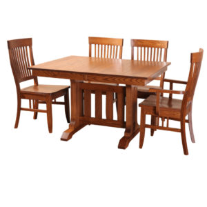 Poco mission 2 trestle table, Dining room, dining room furniture, solid wood, solid oak, solid maple, custom, custom furniture, dining table, dining chair, made in Canada, Canadian made