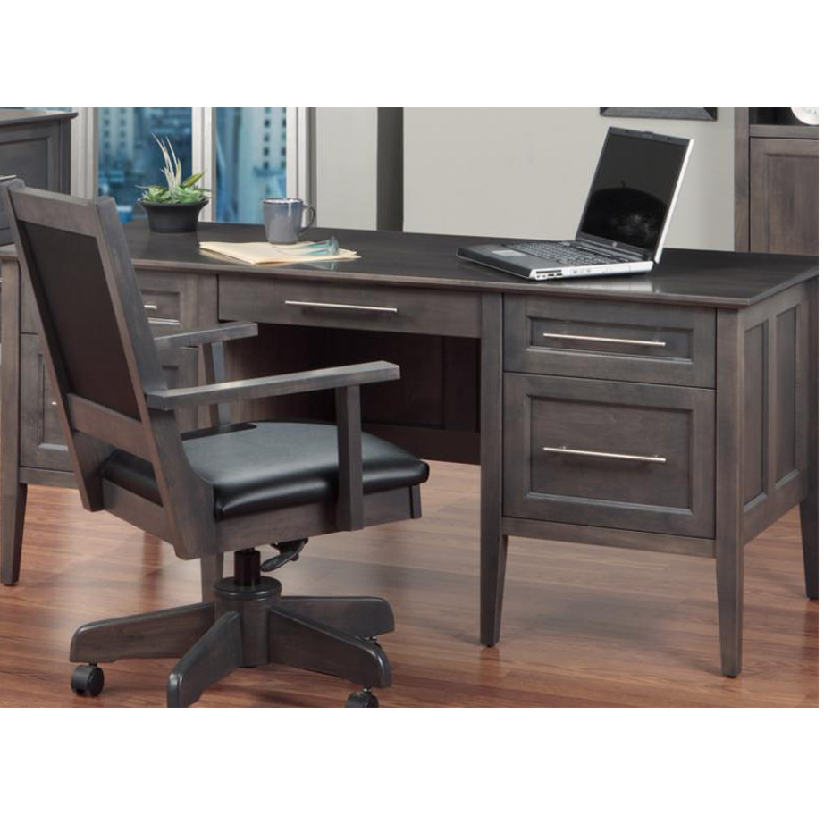 Home Office, Desks, cherry, computer, distressed, made in canada, maple, oak, rustic, solid wood, workstation, office ideas, classic, storage ideas, hand stone, Stockholm Desk