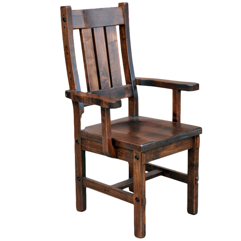 timber arm chair, solid wood dining chair, rustic dining chair, canadian made dining chair, timber arm chair
