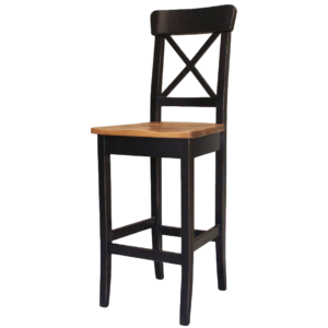 """Dining Room, Bar Stools, bar, colour, contemporary, counter, country, distressed, island, kitchen, made in canada, modern, painted, solid wood, white, rustic, simple, x back stool, 24"""", 30"""", wood seat, True North X Back Stool"""