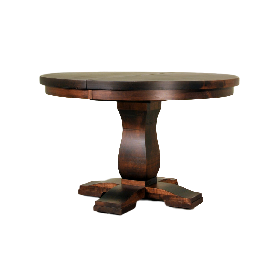 Tuscan table, Dining room, table, dining table, solid wood, maple, rustic maple, made in Canada, pedestal, custom, custom furniture, round, round dining table