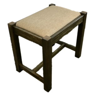 Accents, Entry Benches, entryway, fabric, hallway, made in canada, maple, oak, rustic, seating, solid wood, storage, hallway ideas, living room ideas, simple, rustic, upholstered, wood seat, oakridge, Vanity Bench, Vanity Bench - Side View