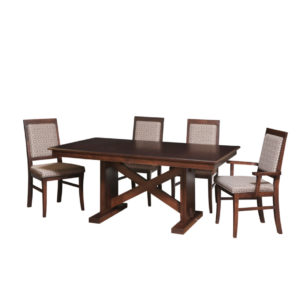 x base trestle table, Dining room, dining room furniture, solid wood, solid oak, solid maple, custom, custom furniture, dining table, dining chair, made in Canada, Canadian made, odyssey trestle table