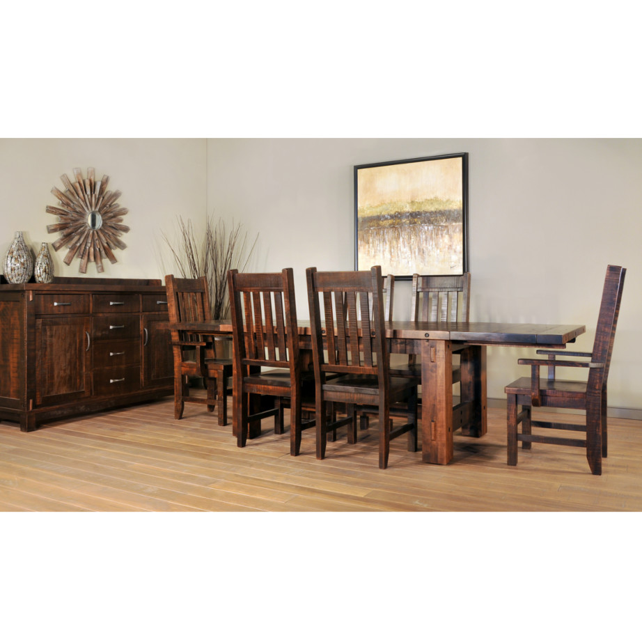 Dining room, table, dining table, solid wood, maple, rustic maple, made in Canada, pedestal, custom, custom furniture, dining chair, timber