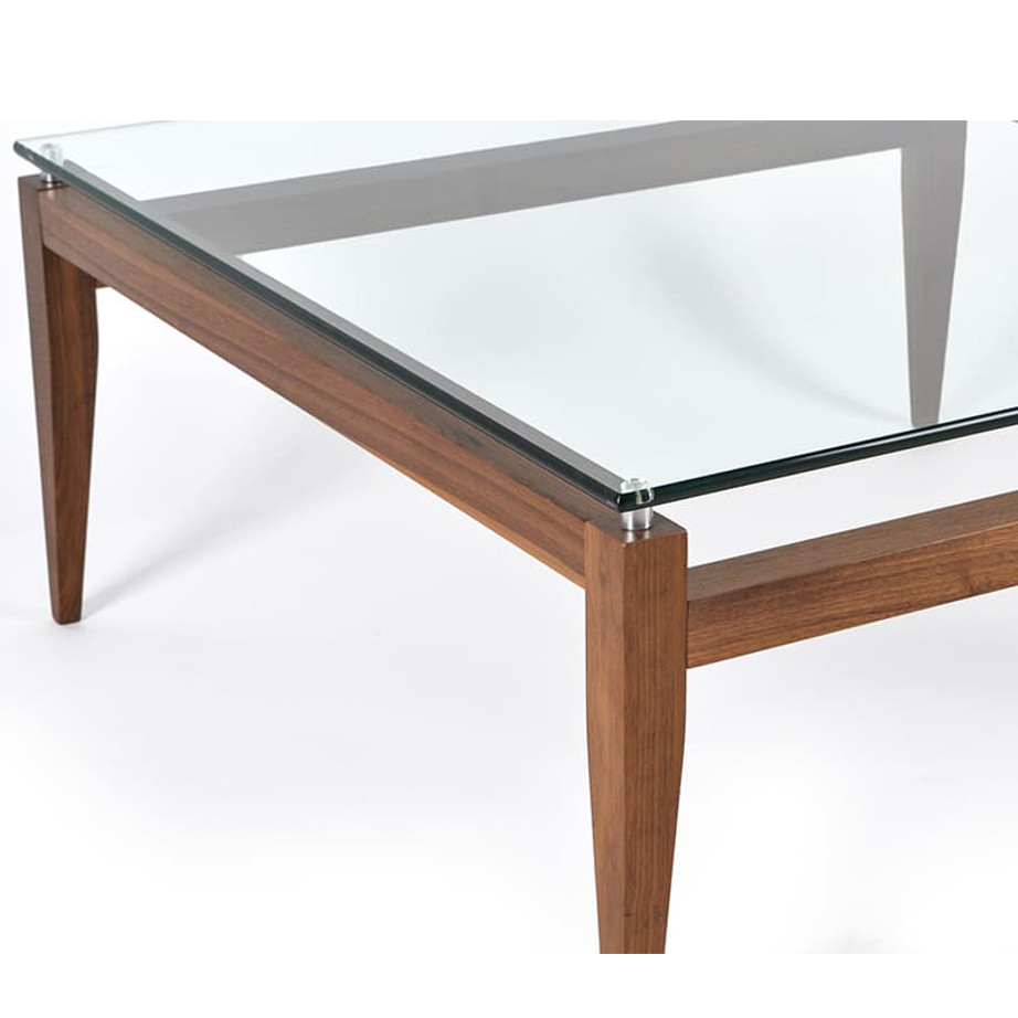 Occasional, End Table, Accents, Accent Furniture, birch, contemporary, made in canada, mid century, modern, solid wood, walnut, living room ideas, unique, modern, verbois, custom stain, simple, Living Room, coffee table, glass, glass shelf, rectangle, square, Alex Coffee Table, Alex Coffee Table Detail