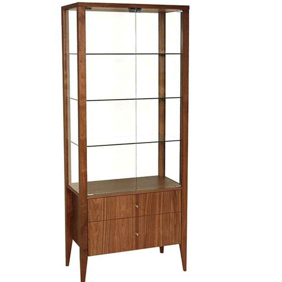 Dining Room, Cabinets, Storage Cabinets, birch, contemporary, made in canada, mid century, modern, solid wood, verbois, walnut, dining room ideas, unique, modern, storage ideas, simple, unique, modern, Glass shelfs, Display, Curio, living room ideas, Alex Display Cabinet