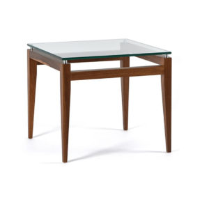 Occasional, End Table, Accents, Accent Furniture, birch, contemporary, glass, made in canada, mid century, modern, solid wood, walnut, living room ideas, unique, modern, verbois, custom stain, simple, Living Room, glass shelf, square, Alex End Table