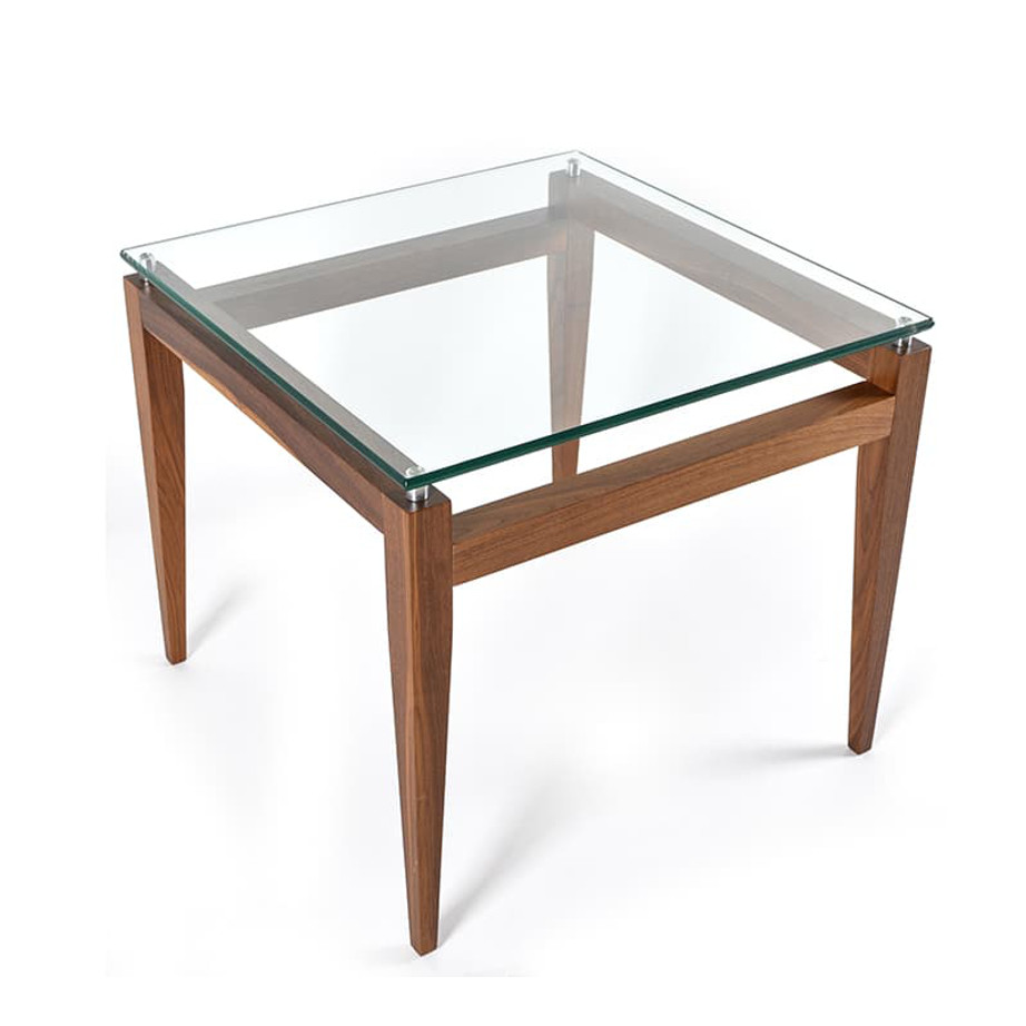 Occasional, End Table, Accents, Accent Furniture, birch, contemporary, glass, made in canada, mid century, modern, solid wood, walnut, living room ideas, unique, modern, verbois, custom stain, simple, Living Room, glass shelf, square, Alex End Table, Alex End Table A