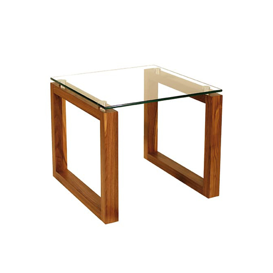 Occasional, End Table, Accents, Accent Furniture, birch, contemporary, glass, made in canada, mid century, modern, solid wood, walnut, living room ideas, unique, modern, verbois, custom stain, simple, Living Room, glass shelf, square, Bill End Table A, Bill End Table