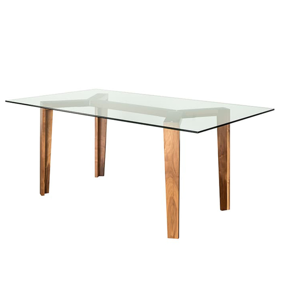 Dining Room, Leg Tables, birch, contemporary, made in canada, mid century, modern, solid wood, walnut, Modern, unique, several sizes, dining room ideas, VerBois, simple, raw, Brux Table, simple, extension table, Glass top, wood leaf,