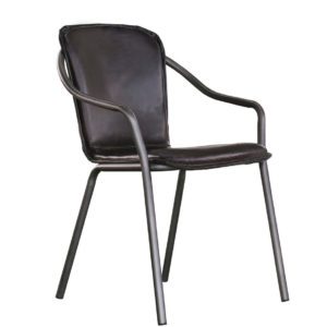 Casino Dining Chair, steel frame, metal frame, rustic, modern, industrial, urban, vinyl, leather