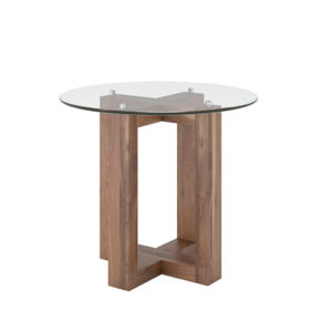 Occasional, End Table, Accents, Accent Furniture, birch, contemporary, glass, made in canada, mid century, modern, solid wood, walnut, living room ideas, unique, modern, verbois, custom stain, simple, Living Room, glass shelf, Eol End Table, Eol End Table Round