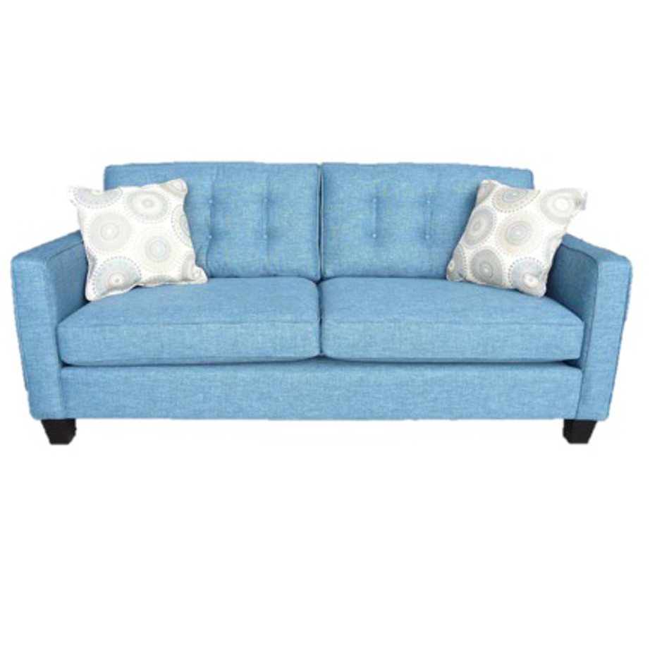 elite sofa, love seat, custom sofa, made in canada, custom sofa, fabric, modern, traditional, lincoln sofa, sectional, tufted back, stitching, blue, track arm