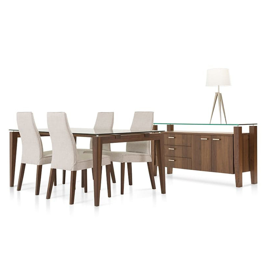 Dining Room, Cabinets, Storage Cabinets, birch, contemporary, glass, made in canada, mid century, modern, solid wood, verbois, walnut, dining room ideas, glass top, unique, modern, storage ideas, Mika Buffet, Mika Buffet C, Mika Buffet B