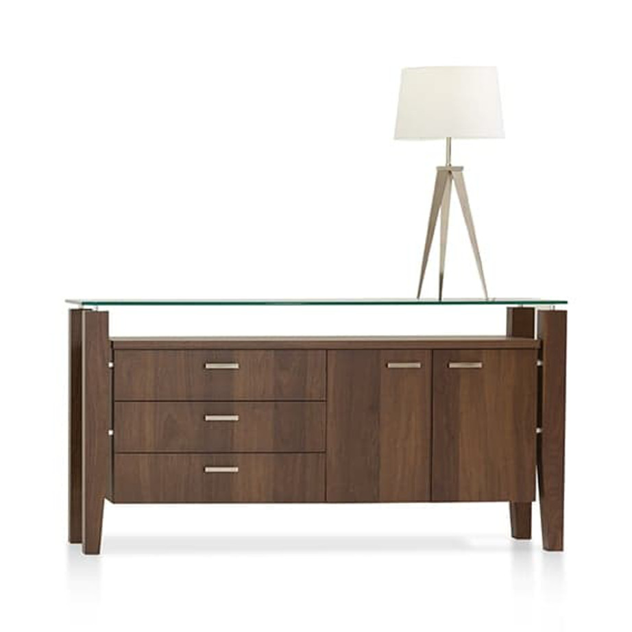 Dining Room, Cabinets, Storage Cabinets, birch, contemporary, glass, made in canada, mid century, modern, solid wood, verbois, walnut, dining room ideas, glass top, unique, modern, storage ideas, Mika Buffet, Mika Buffet C