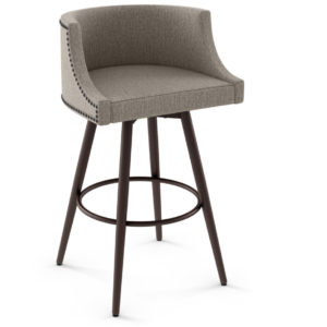 custom stool, metal, iron, steel, fabric, leather, distressed wood, solid birch, traditional, modern, urban, rustic, bar, pub, counter, island, kitchen, amiss, made in canada, radcliffe swivel stool