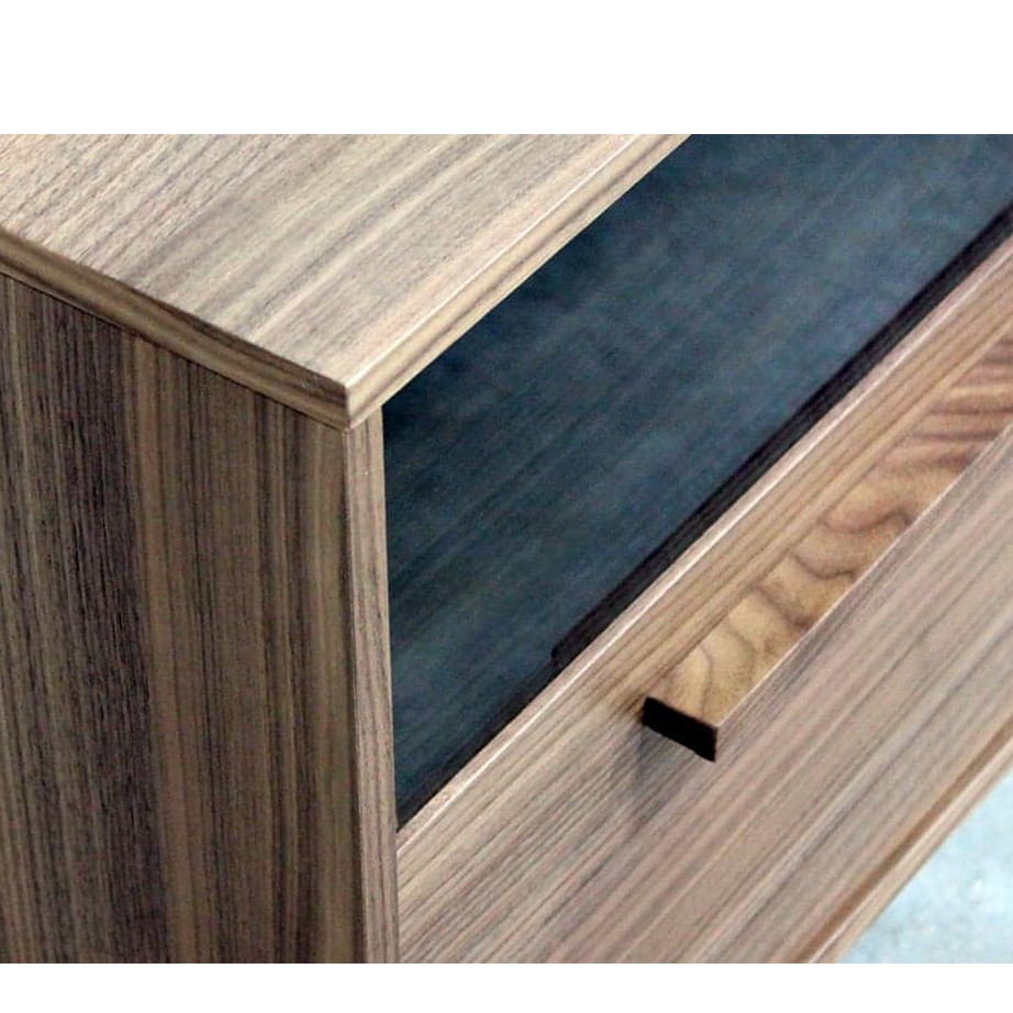 Roxy TV Console, Entertainment, TV Consoles, birch, console, contemporary, HDTV, made in canada, media stand, mid-century, modern, solid wood, walnut, living room furniture ideas, VerBois, solid wood furniture, custom made, unique, Roxy TV Console Detail
