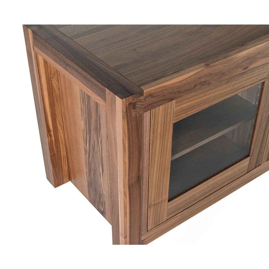 Sim TV Console, Entertainment, TV Consoles, birch, console, contemporary, HDTV, made in canada, media stand, mid-century, modern, solid wood, walnut, living room furniture ideas, VerBois, solid wood furniture, custom made, Sim TV Console Detail