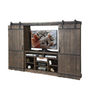 Tobacco Leaf Barn Door Wall Unit, rustic, industrial, solid wood