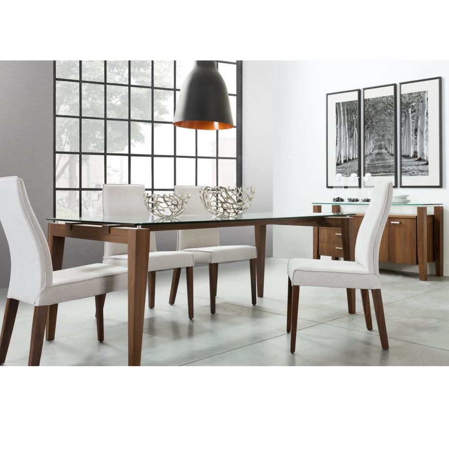 Val Table no leaf, Dining Room, Leg Tables, birch, contemporary, extension table, glass, made in canada, mid century, modern, solid wood, verbois, walnut, Val Table, Modern, unique, mid century, wood leaf, several sizes, dining room ideas, VerBois, simple,