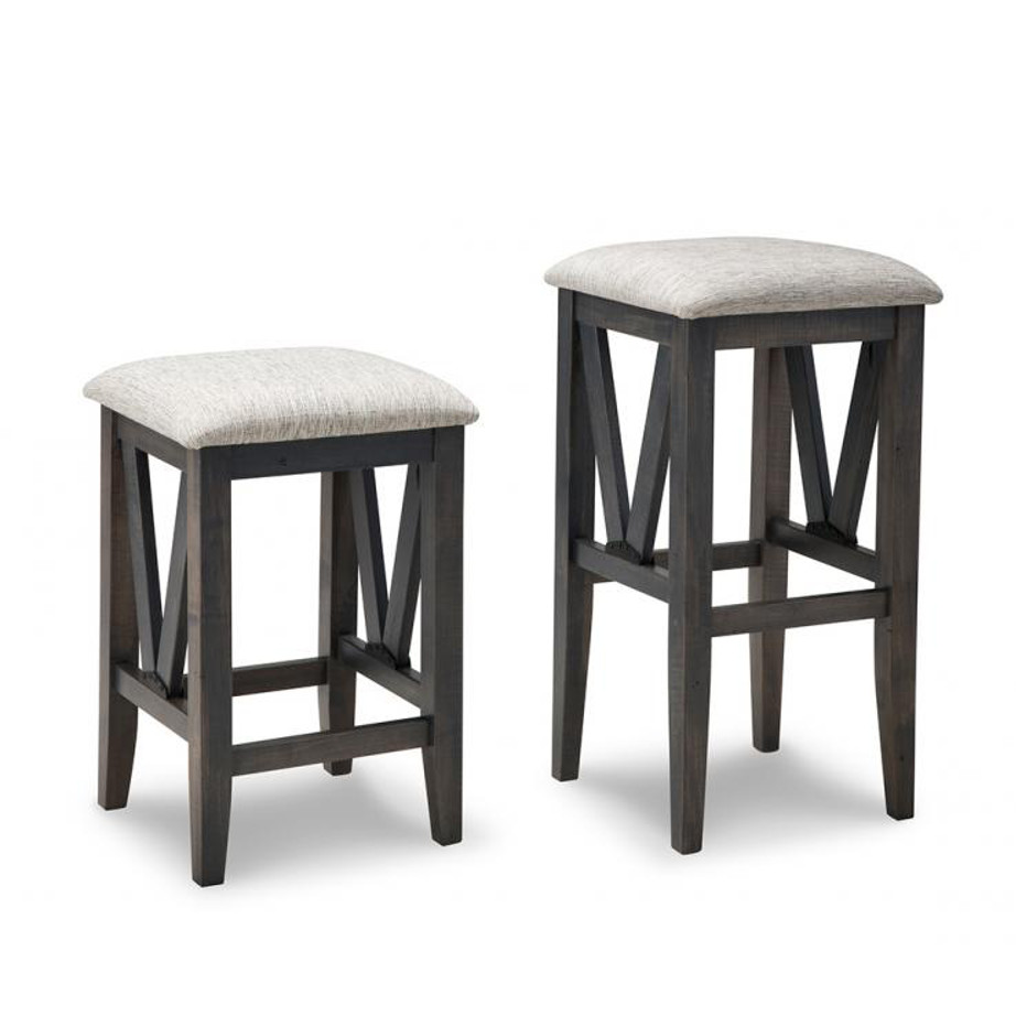 chattanooga backless stool, solid wood, made in canada, handstone, rustic, modern, contemporary, fabric seat, wood seat