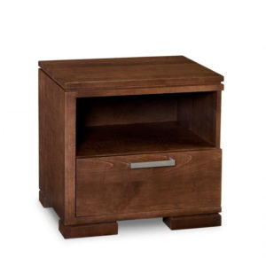 cordova 1 drawer night stand, handstone, solid wood, rustic wood, modern, urban, contemporary, maple, cherry, oak, solid wood, made in canada, canadian made, master bedroom, drawers, storage