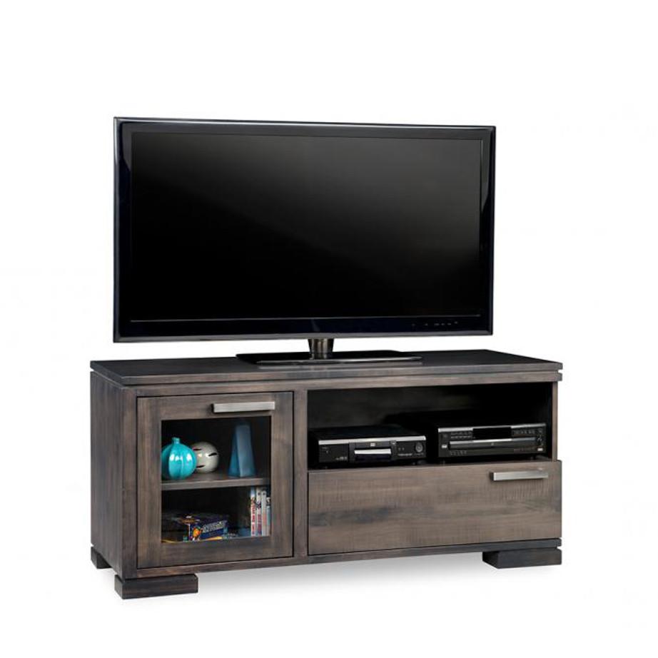 cordova 48 tv console, custom tv console, handstone, solid wood furniture, rustic wood furniture, maple, oak, made in canada, canadian made, customizable, contemporary, modern, urban