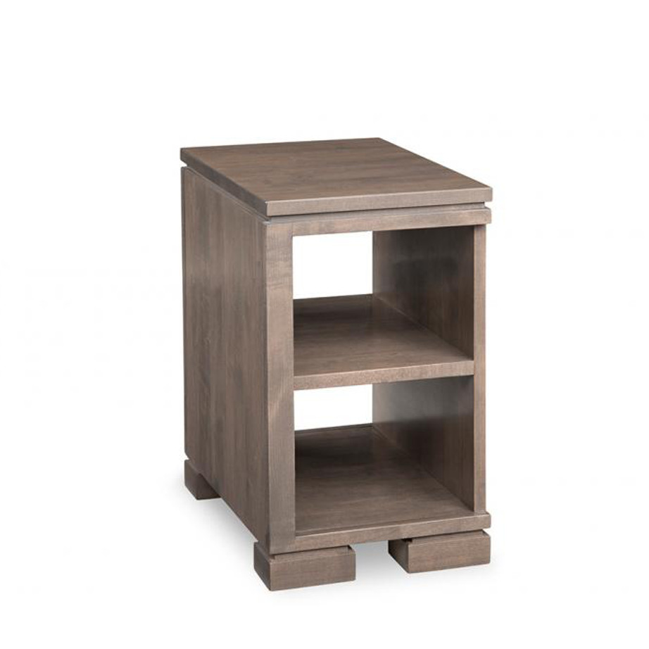 cordova chairside table, handstone, solid wood, rustic wood, made in canada, canadian made, living room table, drawers, open shelf table