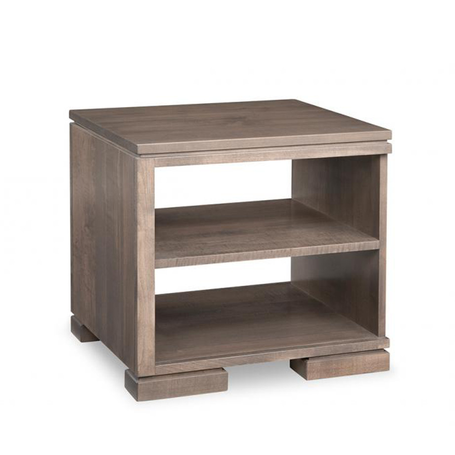 cordova end table, handstone, solid wood, rustic wood, made in canada, canadian made, living room table, drawers, open shelf table