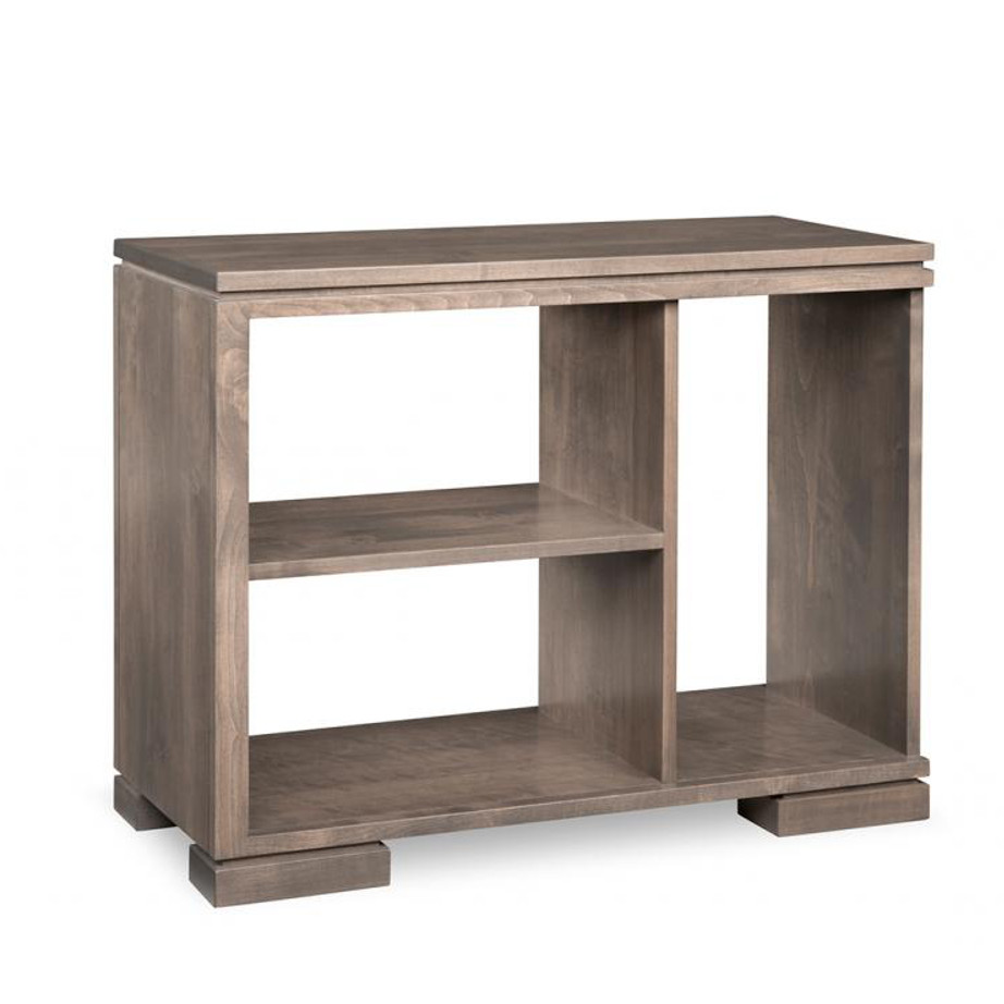 cordova sofa table, handstone, solid wood, rustic wood, made in canada, canadian made, living room table, drawers, open shelf table