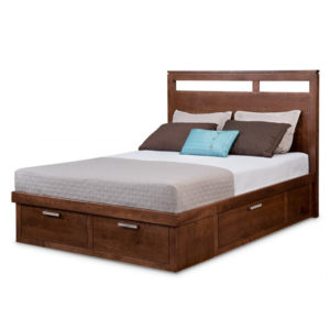 cordova bed, handstone, solid wood, rustic wood, modern, urban, contemporary, maple, cherry, oak, solid wood, made in canada, canadian made, master bedroom, queen bed, king bed, storage bed, platform,