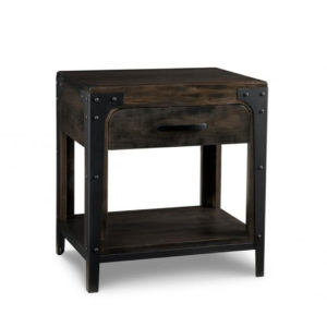 portland open night stand, handstone, solid wood, rustic wood, metal accents, modern, urban, contemporary, maple, rustic wood, dovetailed drawers, made in canada, canadian made
