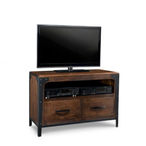 portland 48 tv console, custom tv console, handstone, solid wood furniture, rustic wood furniture, maple, oak, made in canada, canadian made, customizable, metal accents